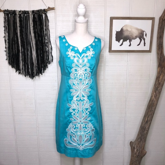 Lilly Pulitzer teal embroidered sheath dress